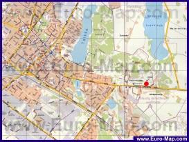 Подробная карта города Шауляй с отелями и достопримечательностями