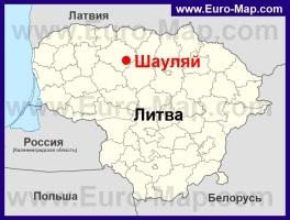 Шауляй на карте Литвы
