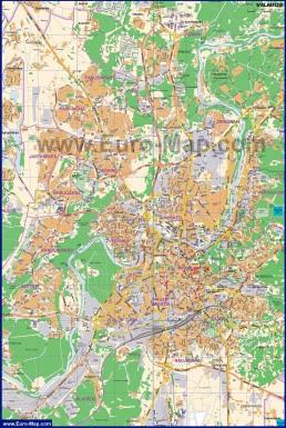 Подробная карта города Вильнюс с улицами