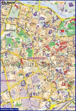 Туристическая карта центра Вильнюса с достопримечательностями