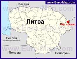 Висагинас на карте Литвы