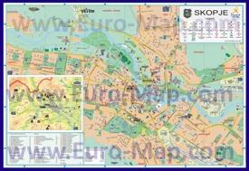 Карта Скопье с отелями и достопримечательностями