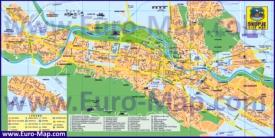 Подробная туристическая карта Скопье