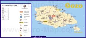Подробная карта острова Гозо