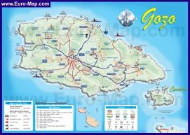 Туристическая карта Гозо с курортами и достопримечательностями