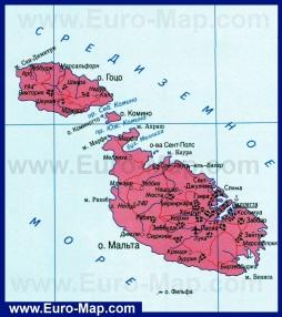 Карта Мальты на русском языке