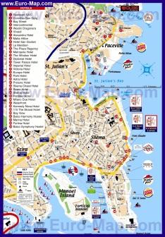 Подробная туристическая карта города Слима с отелями