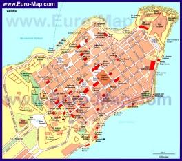 Карта Валлетты с достопримечательностями