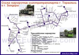 Карта маршрутов троллейбусов Тирасполя