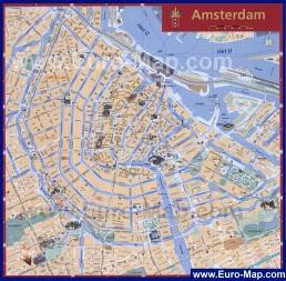 Карта Амстердама с достопримечательностями