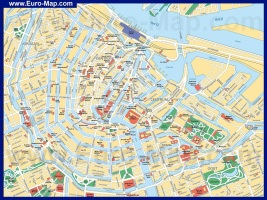 Карта центра Амстердама с достопримечательностями