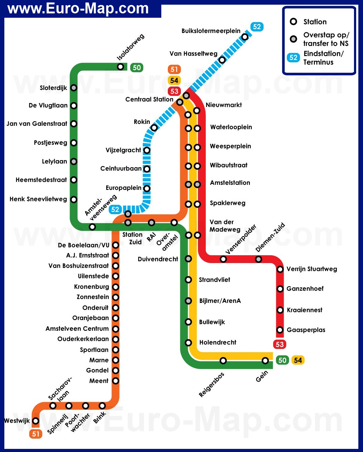 Схема метро амстердам