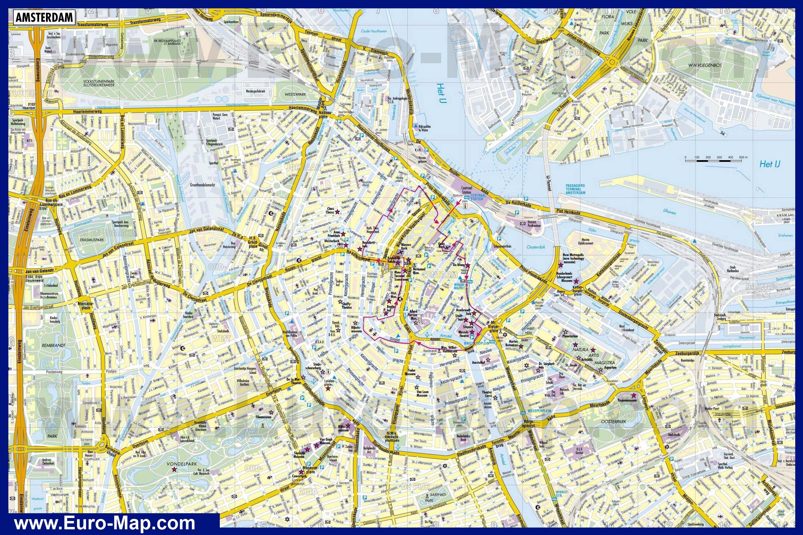 Карта схема амстердама