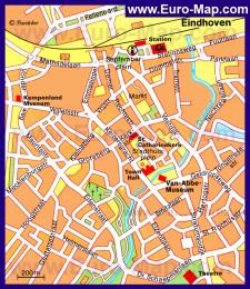 Карта Эйндховена с достопримечательностями