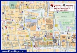 Карта центра Гааги с достопримечательностями и отелями