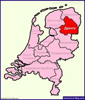 Дренте на карте Нидерландов