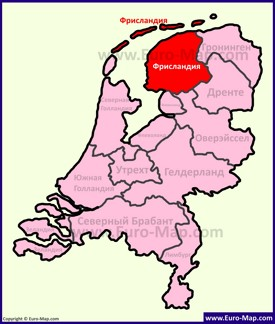 Фрисландия на карте Нидерландов
