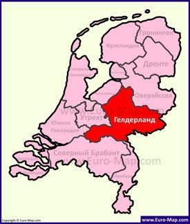 Гелдерланд на карте Нидерландов