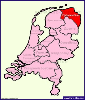 Провинция Гронинген на карте Нидерландов