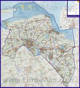 Карта дорог провинции Гронинген