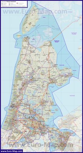 Подробная карта провинции Северная Голландия