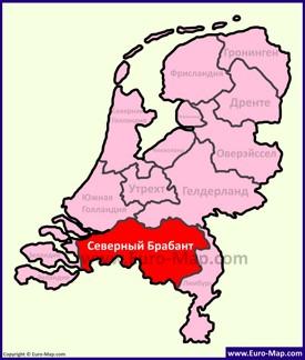 Северный Брабант на карте Нидерландов
