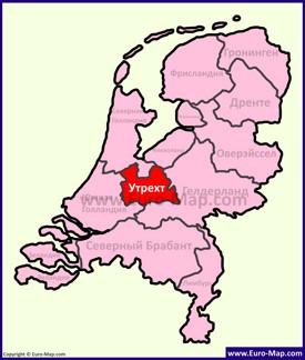 Утрехт на карте Нидерландов