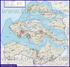 Подробная карта провинции Зеландия
