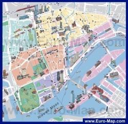 Туристическая карта Роттердама с достопримечательностями