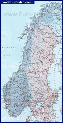 Карта Норвегии на русском языке