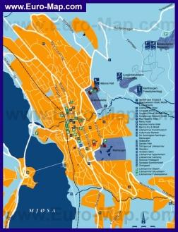 Подробная туристическая карта города Лиллехаммер с отелями