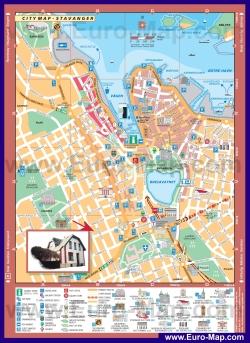 Подробная карта города Ставангер с достопримечательностями