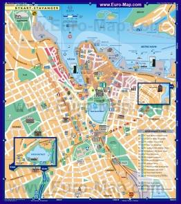 Туристическая карта Ставангера с отелями