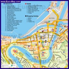 Карта Тронхейма с достопримечательностями, отелями и магазинами