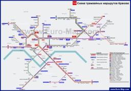 Схема трамвайных путей Кракова