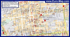 Карта центра Лодзя с достопримечательностями