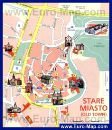 Карта центра Люблина с достопримечательностями