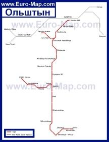 Карта городского транспорта Ольштына
