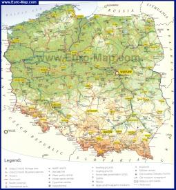 Подробная туристическая карта Польши с городами и достопримечательностями