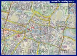 Туристическая карта Познани с достопримечательностями и отелями