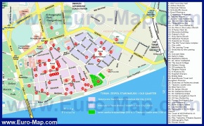 Карта Торуни с достопримечательностями