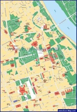 Карта центра Варшавы с улицами
