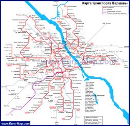 Карта общественного транспорта Варшавы