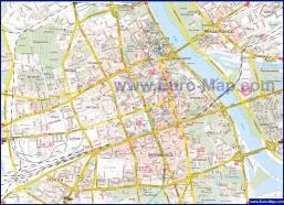 Подробная туристическая карта Варшавы