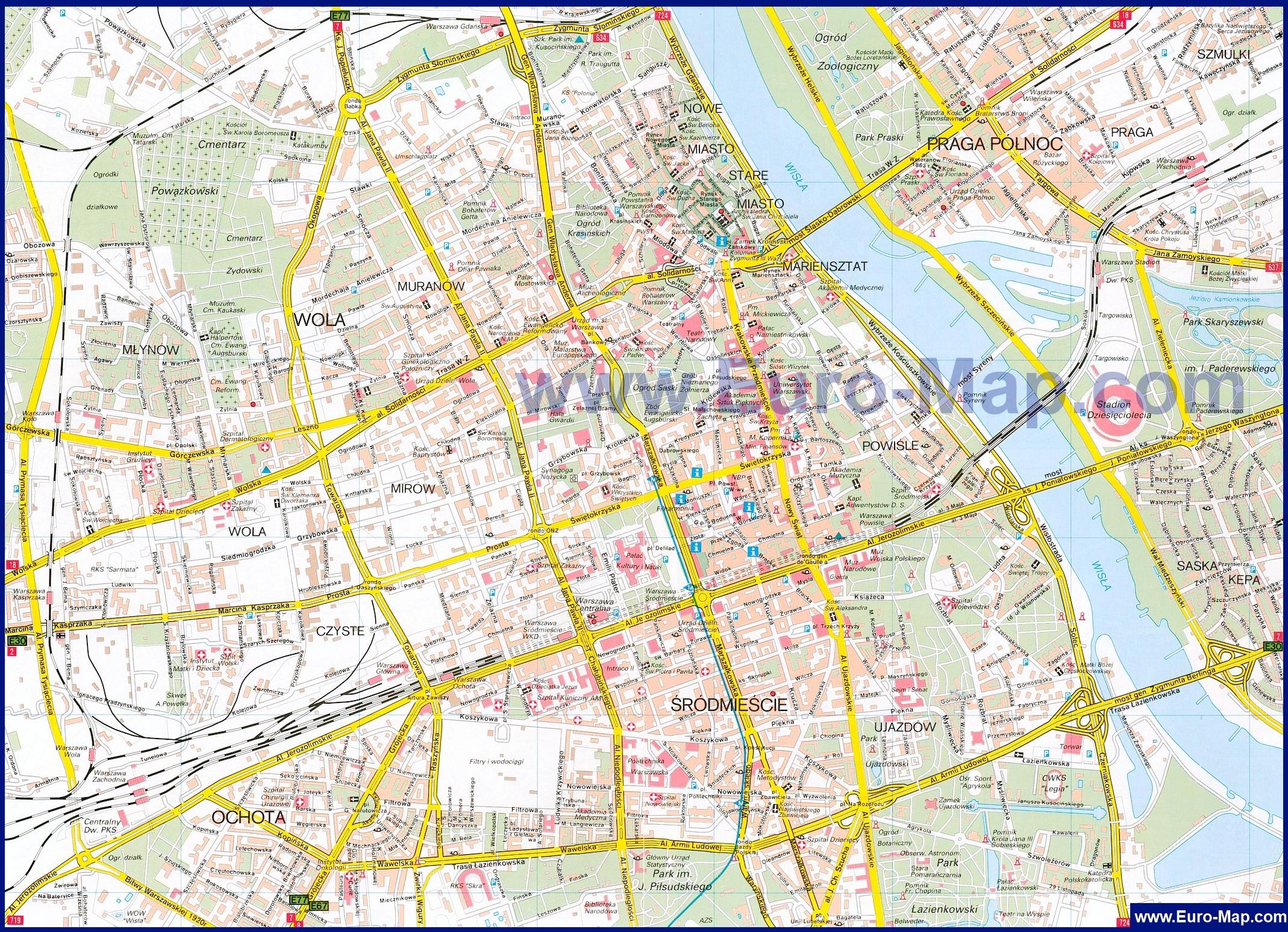 время для карта варшавы с улицами и районами интересно, сколько стоит