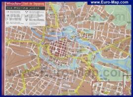 Подробная карта Вроцлава с отелями