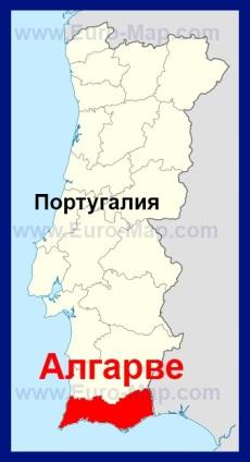 Алгарве на карте Португалии