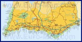 Карта побережья Алгарве с курортами