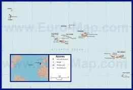 Подробная карта Азорских островов