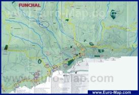 Карта города Фуншал с отелями